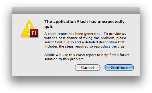 Flash has unexpectedly quit