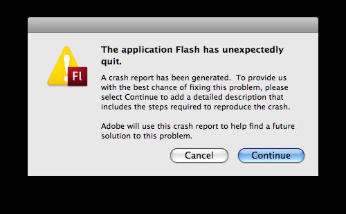 Flash has unexpectedly quit