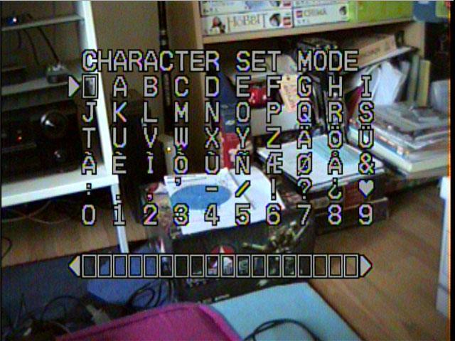 VHS-C Character Set Mode